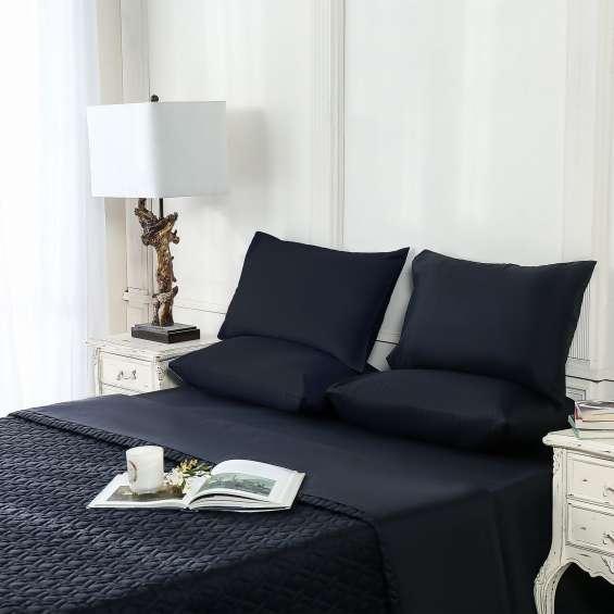 Sapphire | bed throw | jet black ; house of faiza