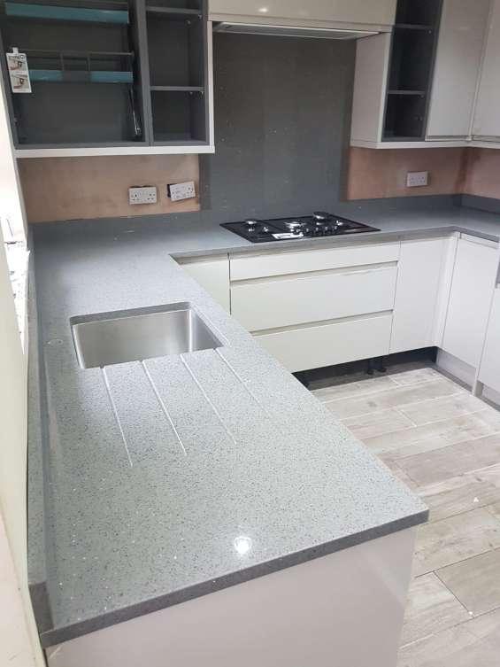 Pictures of Grey starlight quartz sale | kitchen worktops at low price london 2