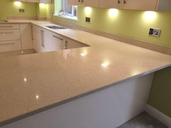 Brilliant cream quartz sale   top kitchen worktops in london uk at best price